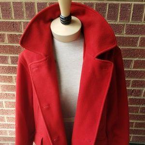 red wool pea coat